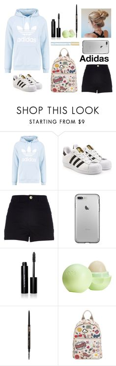 """Adidas in your life"" by tanya-tsygankova ❤ liked on Polyvore featuring adidas Originals, River Island, Bobbi Brown Cosmetics, Eos, Anastasia Beverly Hills, Anya Hindmarch and Marc Jacobs"