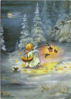 Engel streut sterne im winterwald