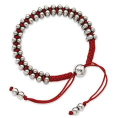 Women's Stainless Steel Polished Beads Red Fabric Cord Bracelet Available Exclusively at Gemologica.com