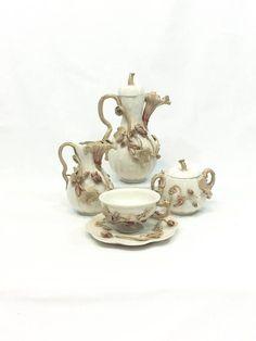 Antique Porcelain Tete-a-Tete Tea Set Applique Vines Flowers