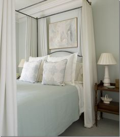 love these colors for a bedroom; wall color is Blue Hubbard by Martha Stewart for Sherwin-Williams (discontinued but you can still ask for it)