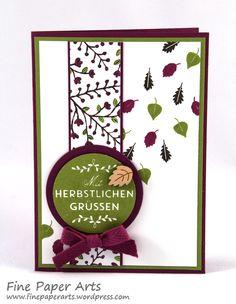 Stampin up - Karte Herbst, card autum, Stempelset Zwischen den Zweigen, Stampset Among the branches, Designerpapier Am Waldrand, DSP Into the Woods - Fine Paper Arts