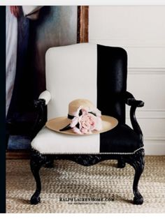Ralph Lauren Home.......white linen and black hide chair.