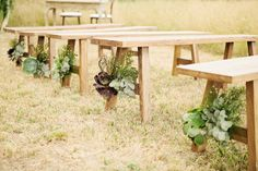 succulents on benches / Melbourne Rustic Wedding