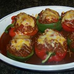 Mexican-inspired ground beef and rice stuffing fills red or green bell peppers for a family-pleasing meal. Mexican Food Recipes, Healthy Recipes, Ethnic Recipes, Mexican Stuffed Peppers, Rice Stuffing, Ground Venison, Beef And Rice, Meal Prep, Food To Make