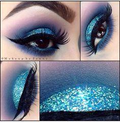 """by @makeupbyjenny """"FROZEN Glitter- """"Blue sky"""" by @glamorouschickscosmetics (makeup seminar July 12 link in our previous post #glamorouschickscosmetics #makeupideasblue"""