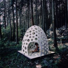 Kazuya Morita / The Concrete Pod House, micro-space furniture for private and public use made of extremely thin concrete Art Concret, Concrete Art, Concrete Projects, Concrete Sculpture, White Concrete, Outdoor Play, Outdoor Rooms, Outdoor Decor, Cool Diy