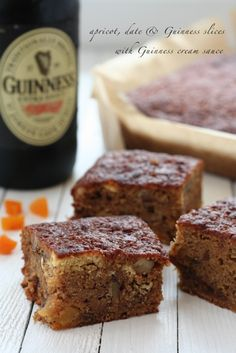 Apricot, date and Guinness slices with Guinness cream sauce - an Irish twist on a traditional sticky toffee pudding♥