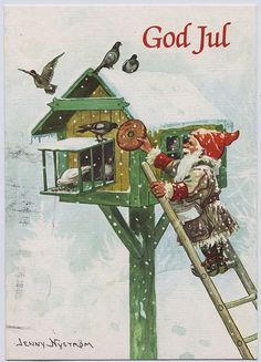 Elf Gnome Feeding Birds House Jenny Nystrom Holiday Christmas Counted Cross Stitch or Counted Needlepoint Pattern Swedish Christmas, Christmas Gnome, Scandinavian Christmas, Christmas Art, Christmas Holidays, Vintage Christmas Cards, Christmas Pictures, Vintage Cards, Vintage Postcards