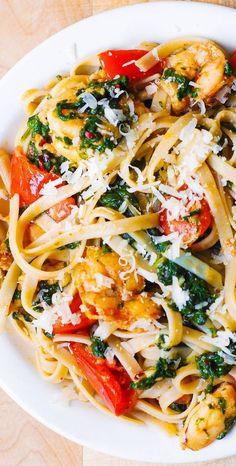 Shrimp Dishes, Shrimp Recipes, Fish Recipes, Pasta Recipes, Dinner Recipes, Cooking Recipes, Shrimp Pasta, Kitchen Recipes, Beef Recipes