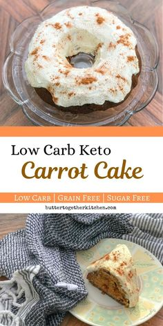 A simple homemade classic low carb Carrot Cake that's unbelievably moist, perfectly spiced, with an ultra-creamy cream cheese frosting! Sugar Free Carrot Cake, Low Carb Carrot Cake, Sugar Free Desserts, Keto Desserts, Low Carb Keto, Low Carb Recipes, Snack Recipes, Dessert Recipes, Side Recipes