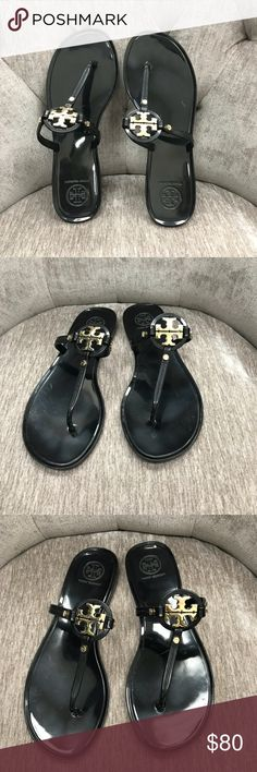 f4e95813195a1 Tory Burch Mini Miller Sandal Tory Burch Mini Miller jelly sandal in black  with gold furnishings