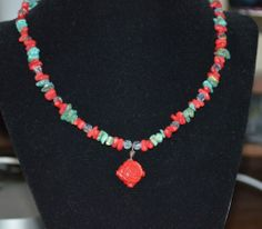"""Turquoise Red Coral Crystal Flower Pendant Sterling Silver 16.5"""" Necklace (n8)"""