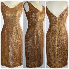 Vintage 1960s Gold Sequin Wiggle Cocktail Dress Formal 28 Inch Waist by ChrisMartinDesigns on Etsy