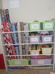 DIY gift wrap station repurposed from an old toy organizer, plus more gift wrap organization ideas featured on Home Storage Solutions 101 Household Organization, Craft Organization, Organizing Ideas, Bedroom Organization, Gift Wrap Storage, Storage Ideas, Diy Storage, Closet Storage, Gift Wrap Organizer