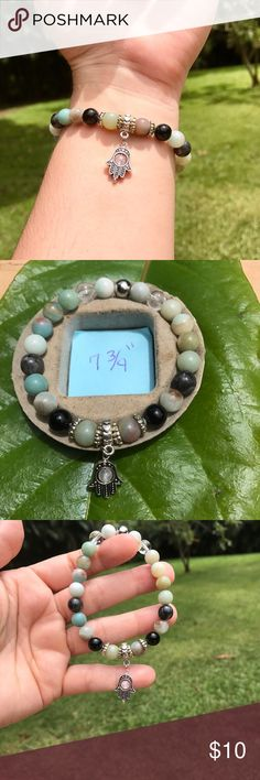 "Reserved for @ladybug818 Amazonite, Crystal Quartz, larvakite and rose Quartz @ Hamsa. Size 7 3/4"" Jewelry Bracelets"
