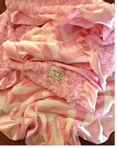 "White Rose Swirl / Zig Zag Print With Satin Trim Minky Blanket 30""x38"".. $52- I think baby needs this"
