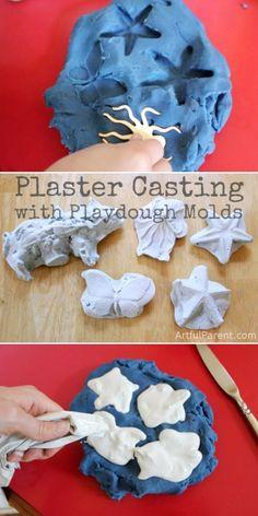 Plaster Casting for Kids Using Playdough Molds