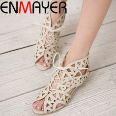 4db6e81f3f96e2 ENMAYER Big Size 34 43 Fashion Cut outs Lace Up Sandals Open Toe Low Wedges  Bohemian Summer Shoes Beach Shoes Woman White Shoes-in Middle Heels from  Shoes ...
