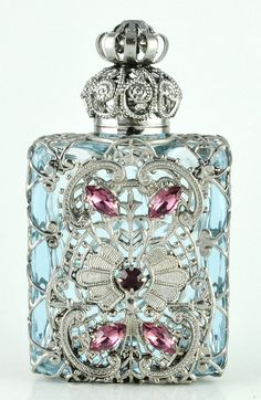 Perfume Bottle Vintage Light Blue Glass by Jewelryandvintage