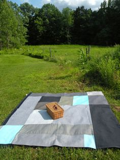 fichu chiffon picnic blanket: abstract blues & denim www.lacabaneatelier.com