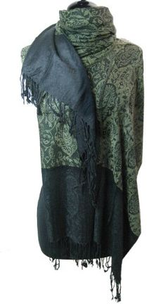 Olive and Black Floral Paisley Shawl Wrap Scarf Pashmina