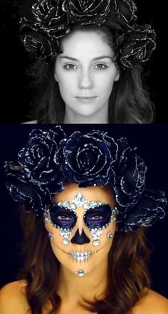 Before and After: Diamond Sugar Skull Makeup Tutorial