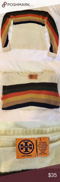 Tory Butch vintage sweater Beautiful vintage Tory Burch sweater in the softest wool blend. Has 3 adorable buttons on one of the sweaters 🌻🌻🌻 Tory Burch Sweaters Crew & Scoop Necks
