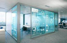 Digital signage for a glass office signage design, booth design, wall design Interaktives Design, Booth Design, Wall Design, House Design, Lobby Design, Design Tech, Stand Design, Design Ideas, Graphic Design