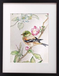 Excited to share this item from my shop: Origin Beaitiful Watercolr Birds And Apple Flowers Tree ready to shipping Watercolor Artwork, Watercolor Bird, Apple Flowers, Small Canvas, Bird Drawings, Pretty Birds, Watercolor Techniques, Botanical Illustration, Bird Art