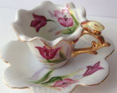 Lefton hand painted cup and saucer set