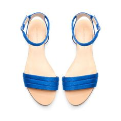SILK SATIN ANKLE STRAP SANDALS from Zara - Loving this blue... Blue suede shoes or blue satin sandals? I'll go with the latter for this summer...