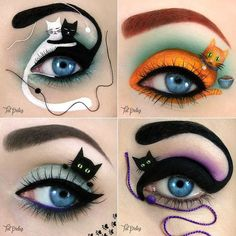 These purr-fectly painted cat eye shadow looks are a great idea for someone who wants to do something for Halloween but not invest in a full costume.