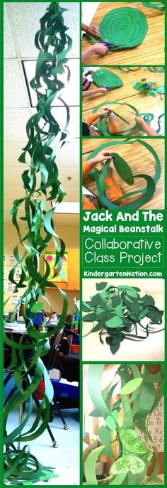 Jack And The Beanstalk Craft ~ Make an oversized beanstalk out of green construction paper! An easy craft even preschoolers can make! (easy crafts for kids preschool) Fairy Tale Crafts, Fairy Tale Theme, Garden Crafts, Fairy Tale Projects, Garden Ideas, Rainforest Classroom, Rainforest Theme, Jungle Classroom Door, Castle Classroom