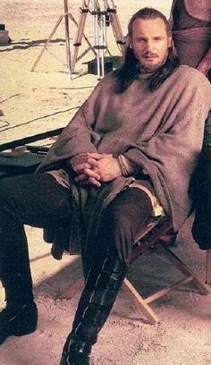 Liam Neeson - Qui Gon Jinn - taking a break on the set during filming of Star Wars Episode I: Phantom Menace