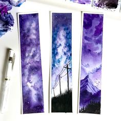 """Handmade Watercolor Bookmarks ☁︎┊ 𝙿𝚒𝚗𝚝𝚎𝚛𝚎𝚜𝚝: @ 𝚝𝚑𝚎𝚛𝚒𝚡𝚘𝚡𝚘 🌙<br> ORIGINAL Watercolor Bookmarks -Size: 2 X 9 """" -Comes laminated for protection lb. watercolor paper -Painted with finest Komorbi watercolor paints Watercolor Illustration, Watercolour Painting, Painting & Drawing, Galaxy Watercolour, Art Sketches, Art Drawings, Watercolor Bookmarks, Galaxy Art, Art Graphique"""