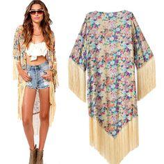 Kimonos Ropa primavera- verano del tamaño extra grande en gasa con estampado floral y flecos largos tallas S_M_L