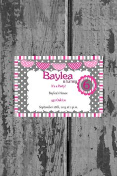 Pink and Grey Stripped and Polka Dotted Birthday Invitation on Etsy, $10.00