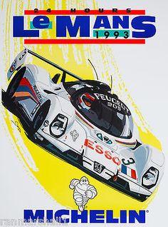 1993 - 24 Horas Le Mans França Automóvel Carro De Corrida Poster Vintage Do Anúncio
