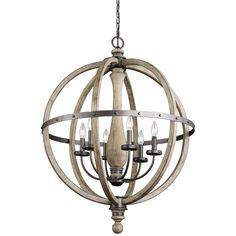 Amazon.com: Kichler Lighting 43327DAG Evan 6LT Chandelier, Anvil Iron and Distressed Antique Gray Wood Finish: Home Improvement