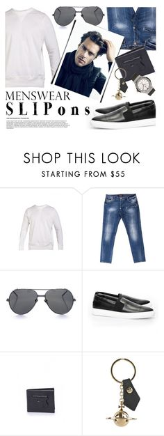 """""""Men's Style"""" by firstboutique ❤ liked on Polyvore featuring Philipp Plein, Linda Farrow, Vivienne Westwood, men's fashion, menswear and slipons"""