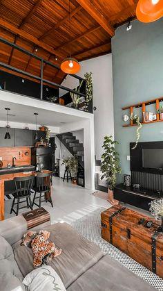 Industrial & Rustic Interior, Industrial Lighting, Casa Loft, Modern Loft, Decoration, Sweet Home, New Homes, Patio, Living Room
