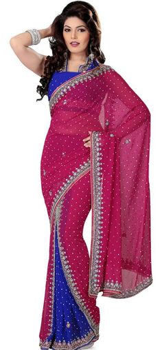 $124.13 Pink and Blue Stone Work Chiffon Wedding Lehenga Style Saree 24914