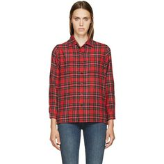 Saint Laurent Red Plaid Wool Shirt ($905) ❤ liked on Polyvore