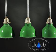 """Polished brass plunger secures green deep-bowl shade and highlights the uncommon beauty of this cast iron mount. Patinated shades are in FINE, original condition. Bulb(s) included.  8.0""""W x 8.5""""H • circa 1940  For shipping outside the US, please visit our website and contact us directly for information.  www.blubulbvintagelighting.com"""