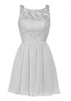 Leader of the Beauty Short Lace Chiffon Prom Dress Bridesmaid Gown Silver UK 8