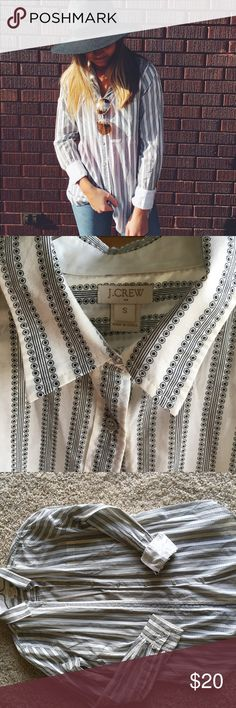 Jcrew Button Up So cute!! Worn a handful of times! Print is super cool and the buttons are silver J. Crew Tops Button Down Shirts