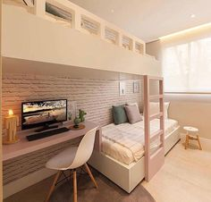 Awesome Quarto Decorado Feminino Moderno that you must know, Youre in good company if you?re looking for Quarto Decorado Feminino Moderno Room Design Bedroom, Girl Bedroom Designs, Room Ideas Bedroom, Kids Room Design, Home Room Design, Bedroom Decor, Bunk Bed Rooms, Bedrooms, Attic Rooms