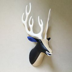 Tricolor fabric deer head  faux taxidermy  zipper by FabricTrophy