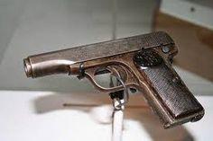 FN- pistool van Gavrilo Princip, waarmee Frans Ferdinand van Habsburg vermoord werd en WW1 uitbrak.